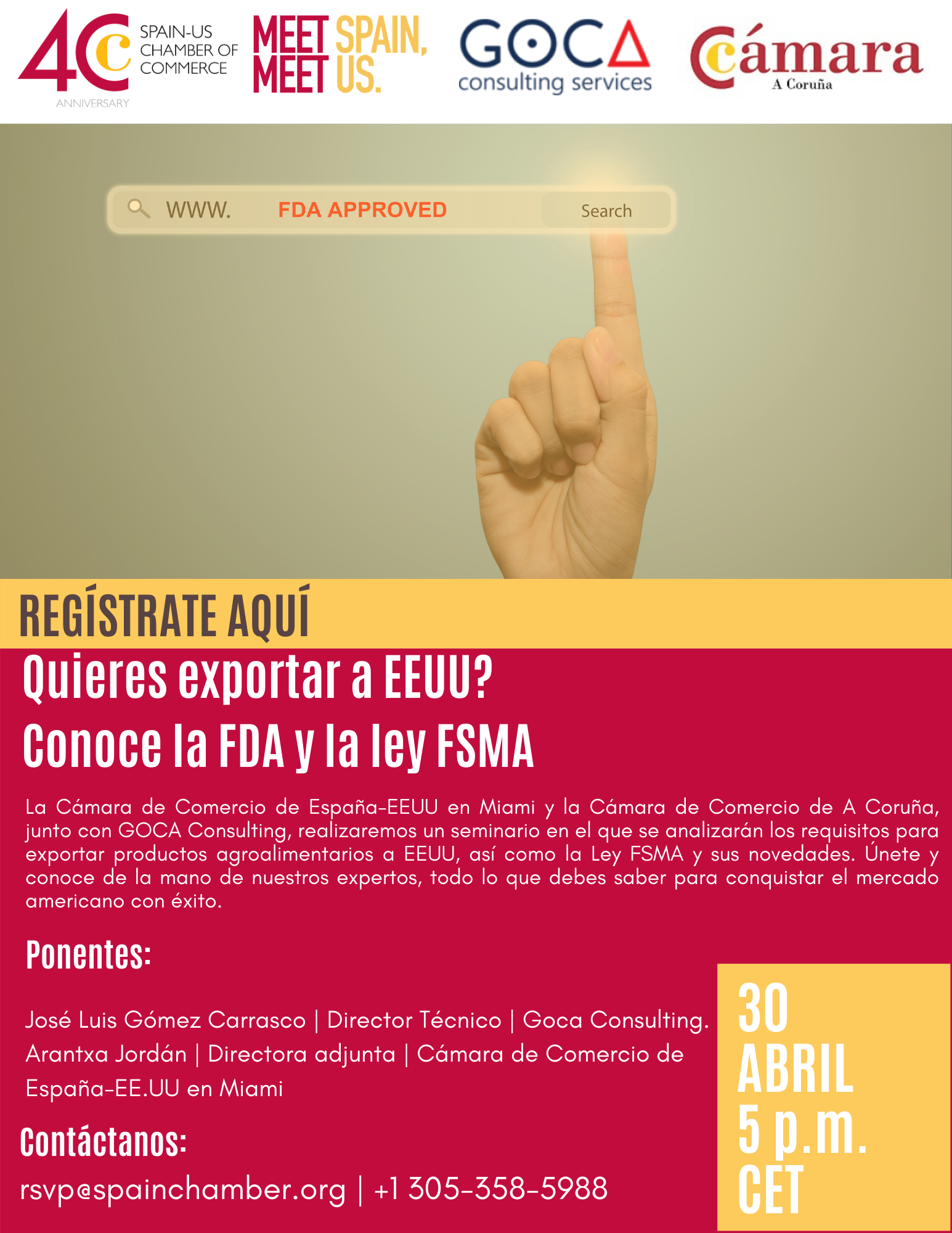 GOCA Consulting will participate in the webinars organized by the Spain-U.S. Chamber of Commerce in Miami